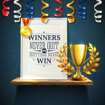 Winners quotes with quitters victory and cup symbols realistic illustration