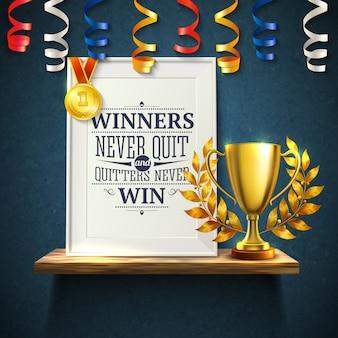 I vincitori citano con l'illustrazione realistica di simboli della vittoria e della tazza di esca