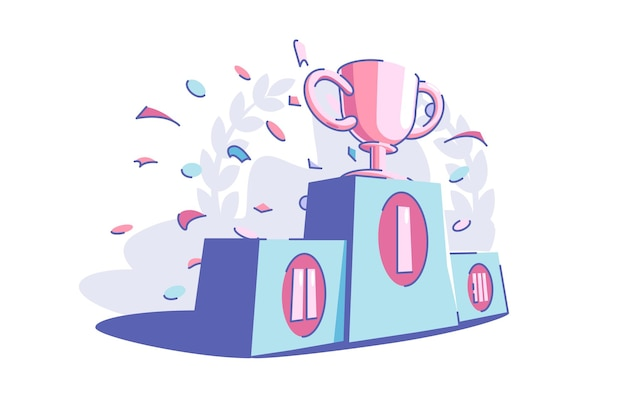 Winners sport trophy vector illustration. golden cub award flat style. festive confetti in air. success and goal achievement concept. isolated