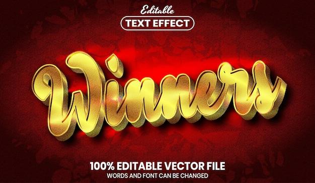 受賞者のテキスト、フォントスタイルの編集可能なテキスト効果