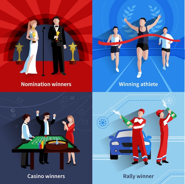 Winning and awards icons set