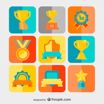 Winning awards, tromphies and badges set
