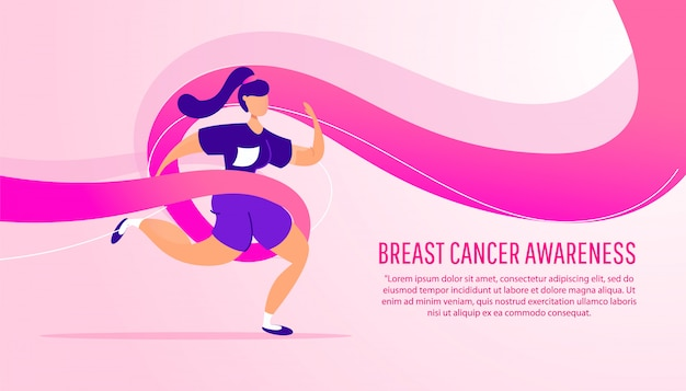Winning  of breast cancer awareness month. young girl runs in a charity marathon with a pink ribbon on a gradient .