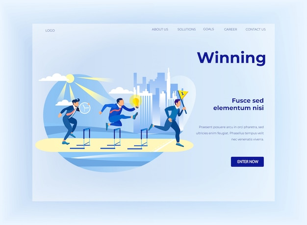 Winning on business competition flat landing page