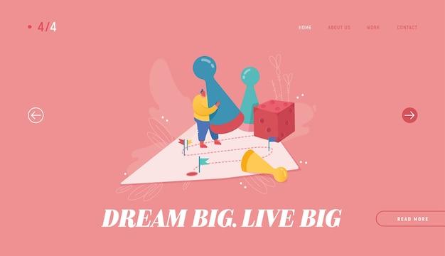 Победа бизнесмена иллюстрация для веб-дизайна, баннера, мобильного приложения, целевой страницы. стратегическое планирование, концепция совместной работы, бизнес-риск. персонаж людей играет в настольную игру, бросая кости.