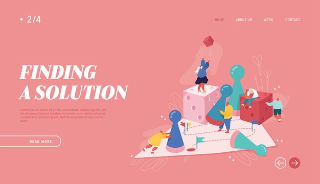 웹 디자인, 배너, 모바일 앱, 방문 페이지에 대한 기업인 그림 우승. 전략적 계획, 팀워크 개념, 비즈니스 위험. 주사위를 던지는 보드 게임을하는 사람들 캐릭터.