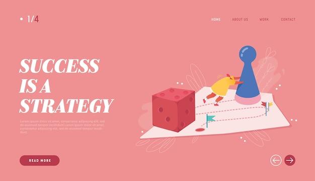 Победившая женская иллюстрация для веб-дизайна, баннера, мобильного приложения, целевой страницы. стратегическое планирование, концепция совместной работы, бизнес-риск. персонаж людей играет в настольную игру, бросая кости.