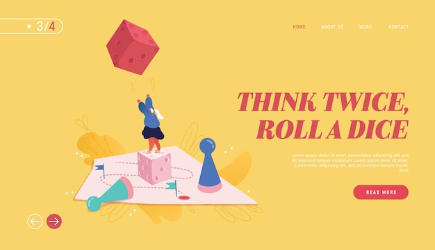 Winning female illustration for web design, banner, mobile app, landing page. strategic planning, teamwork concept, business risk. people character playing board game, throwing the dice.