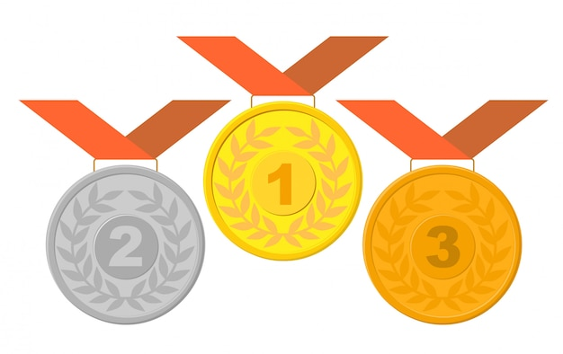 Winning medals with ribbon set