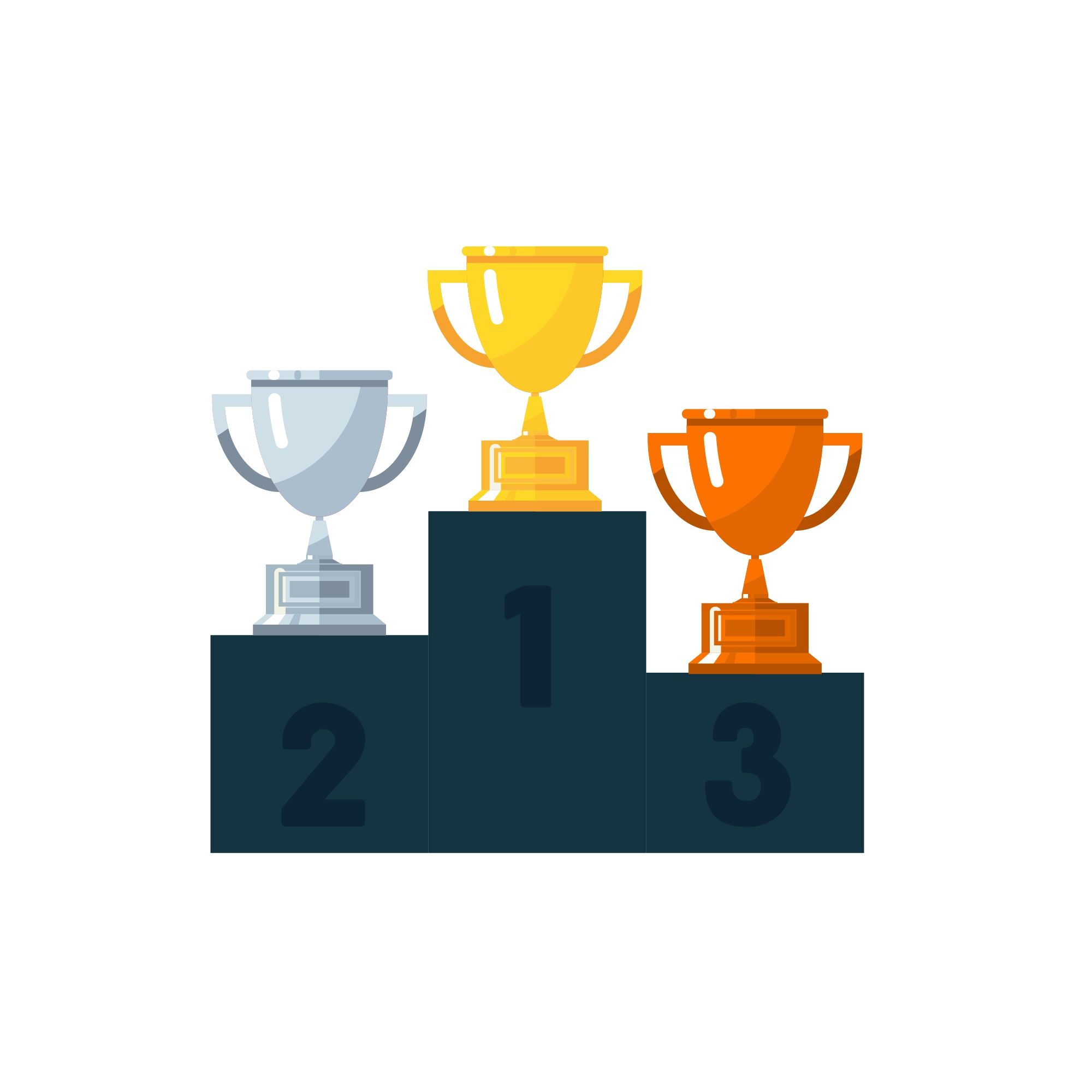 Winning Stage with Trophies in Flat Art Design