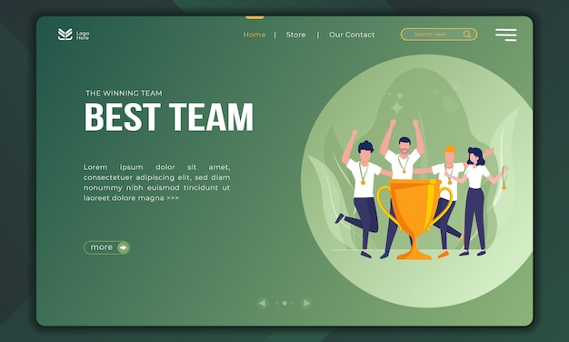 The winning team, best team illustration on landing page template