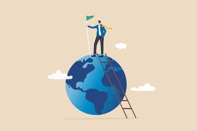 세계 또는 글로벌 비즈니스 성공, 비즈니스 성장 및 확장을 위한 국제 기회, 전세계 경력 개발 개념, 성공 사업가가 세계에서 우승 깃발을 들고 사다리를 올라