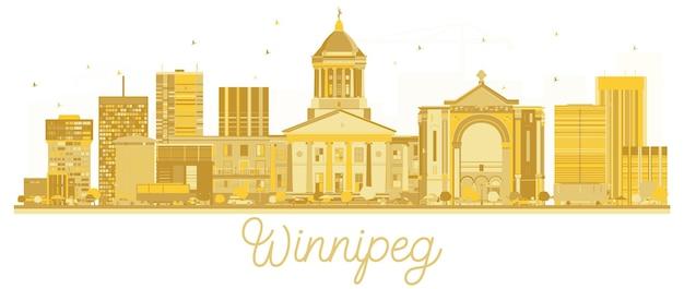 ウィニペグカナダシティのスカイラインの黄金のシルエット。ベクトルイラスト。出張の概念。ランドマークのある街並み。