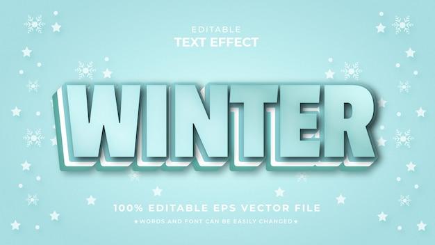 겨울 3d 텍스트 효과 편집 가능한 프리미엄 스타일