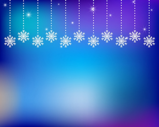 Winter abstract background with hanging snowflakes.