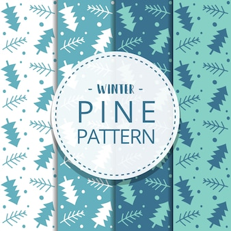 Winter abstract hand drawn pine seamless pattern