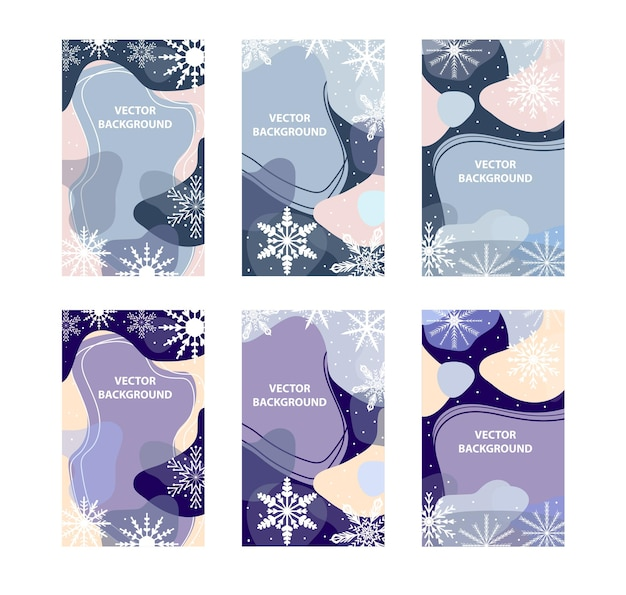 Winter abstract poster set in modern hipster style.trendy contemporary art with snowflakes. vector illustration.