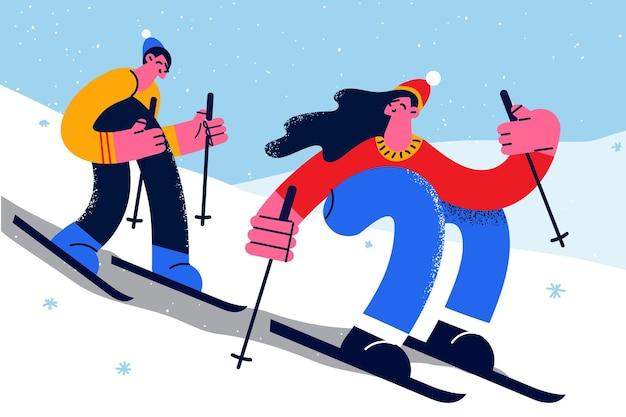 冬の活動とスポーツのコンセプト。楽しいベクトルイラストを持って雪の上で一緒に山のスキーを練習する下り坂に乗って若い幸せなカップル