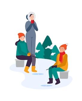 겨울 활동. 가족이 함께 낚시를 합니다. 얼음 연못에서 낚시를 하는 낚시꾼들. 소녀와 소년은 막대를 들고 의자에 앉아 구멍에 피쉬를 잡습니다. 따뜻한 옷을 입은 캐릭터, 겨울 취미 벡터