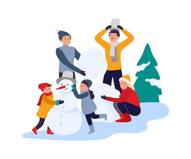 겨울 활동. 눈사람을 만드는 행복한 가족. 눈 덮인 공원에서 시간을 보내는 아이들을 둔 부모. 활동적인 레크리에이션, 휴가 중 여가. 겨울 방학 및 재미있는 벡터 일러스트 레이 션