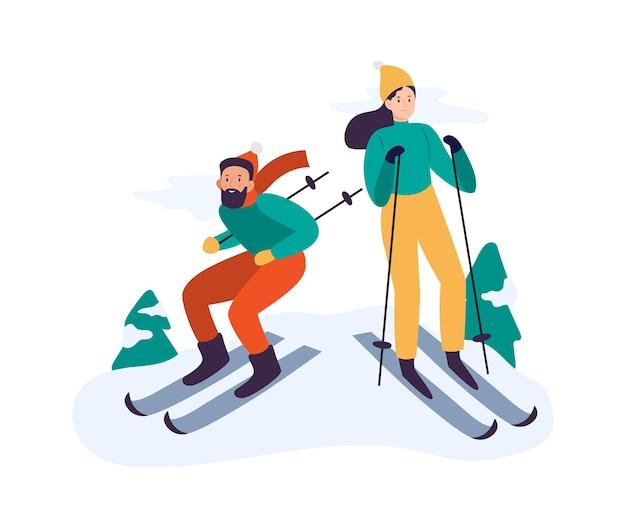 겨울 활동. 사람들이 스키. 야외에서 함께 시간을 보내고 여가를 즐기는 커플. 장비와 겨울 의류에 남자와 여자입니다. 가족 휴가 휴가 벡터 일러스트 레이 션