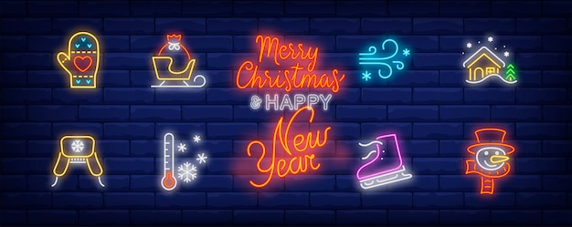 Winter activities symbols set in neon style