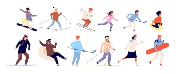 子供との冬のアクティビティ。スポーツカップル、クリスマス休暇の時間。孤立したスケートスキースノーボードとホッケーの文字ベクトルイラスト。冬の屋外でのそり競技