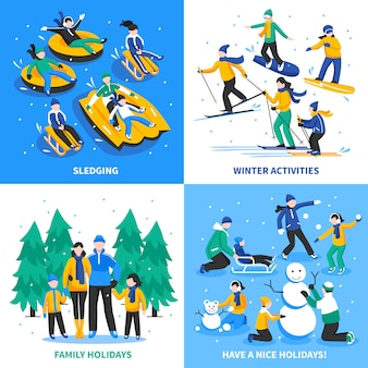 Winter activity 2x2 concept
