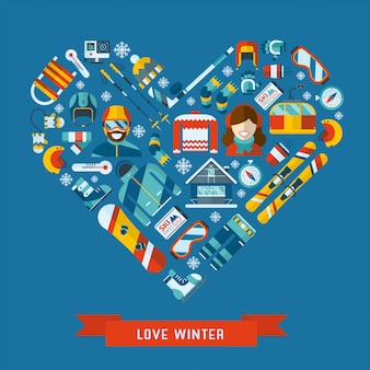 Winter activity flat icon in heart shape. love winter concept banner template.