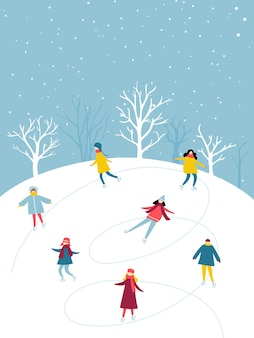 冬のアクティビティ、人々のグループは屋外のアイススケートリンクでスケートをしています。休日の楽しみのフラットイラスト。