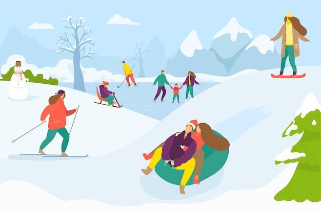 屋外の雪のベクトルイラストフラット男性女性の人々のキャラクターと冬の活動はholidaで休む...