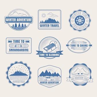 Winter adventure badges set