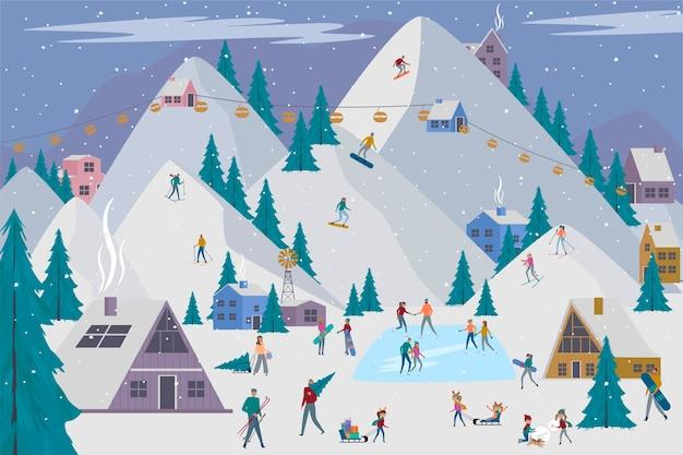 Зимний фон праздников альп с активными людьми.