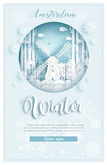Winter in amsterdam for travel and tour advertising concept with world famous landmark