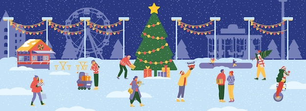 Winter amusement park scene with big christmas tree and people around with gifts