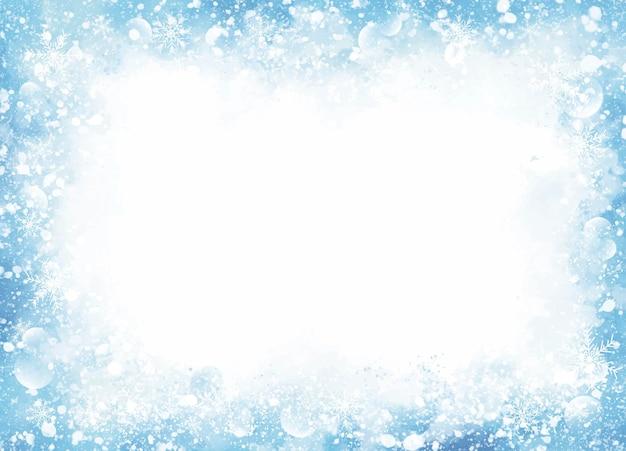 Зимний и рождественский фон из снега и снежинки на синей акварели