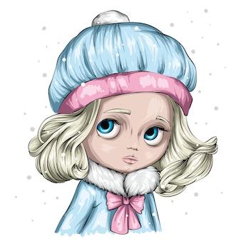 冬とクリスマスのイラスト。スタイリッシュな冬の帽子とセーターでかわいい女の子。