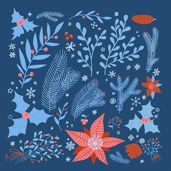 Зимние и рождественские стилизованные декоративные листья пуансеттии, ягоды падуба, ели, дерева