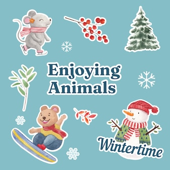 Winter animal and christmas elements sticker set