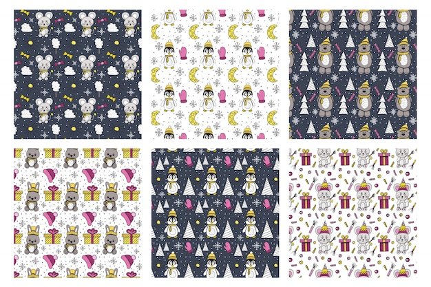 Winter animal pattern collection