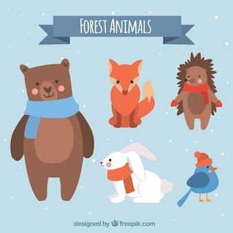 Set di animali d'inverno di cinque