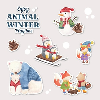Winter animal sticker set