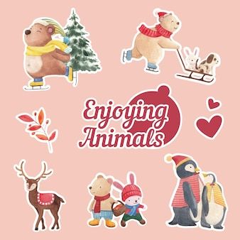 Set di adesivi animali invernali