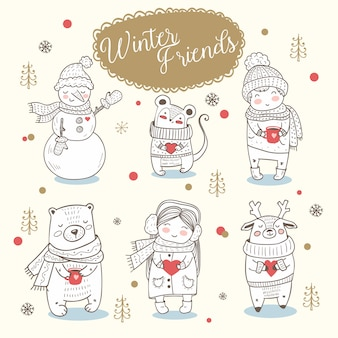 Winter animals, boy and girl hand drawn.