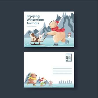Winter animals card template