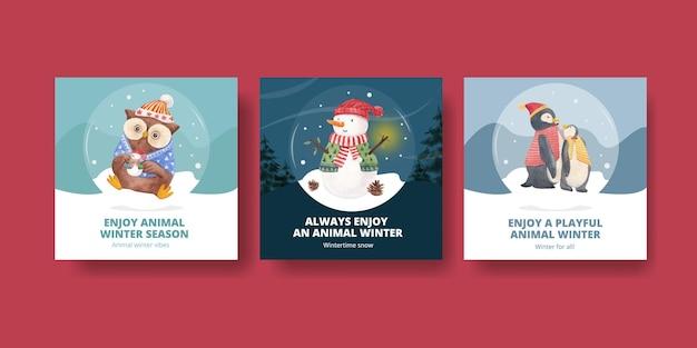 Winter animals cards set