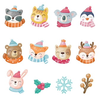 겨울 동물 클립 아트, 동물 메리 크리스마스, 수채화 디지털 페인팅