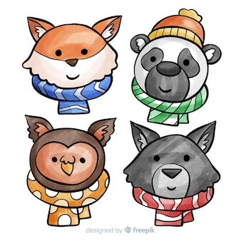 Winter animals collection