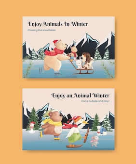 Winter animals facebook template