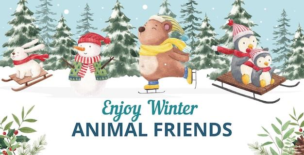 冬の動物のイラスト